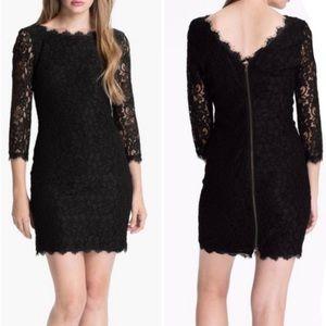 DVF Zarita 3/4 sleeve lace dress in black